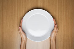 A female hands hold a empty white dish Stock Photos