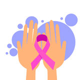 Female Hands Hold Pink Ribbon Breast Cancer Stock Photo