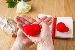 Female hands hold a toy heart for Valentine's Day stock images
