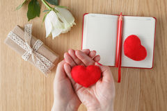 Female hands hold a toy heart for Valentine's Day royalty free stock image