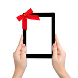 Female Hands Holding A Tablet With Isolated Screen And A Red Gif Stock Images