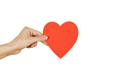Female hands holding black empty red Valentines card with heart. Isolated on a white background stock photo