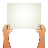Female hands holding blank paper sheet. Stock Photography