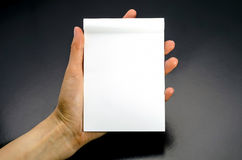 Female hands holding a blank white notebook. On a black background Stock Images