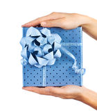 Female hands holding blue gift box Stock Image