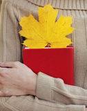 Female hands holding book with autumn yellow maple leaf Stock Photo