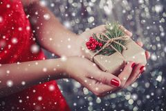 Female hands holding Christmas gift box with branch of fir tree, shiny xmas background. Stock Photos