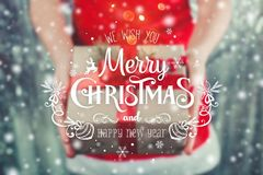 Female hands holding Christmas gift box with red ribbon, branch of fir tree on shiny xmas background. Holiday gift and decoration. Toning Stock Photo