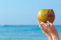 Female hands holding coconut on sea background royalty free stock photo