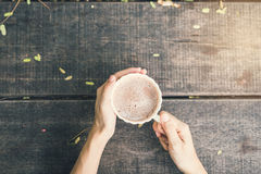 Female hands holding a cup of coffee Royalty Free Stock Image