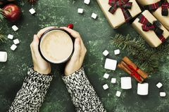 Female hands holding cup with hot chocolate and various attribut. Es of holiday on a green background. Top view Stock Image