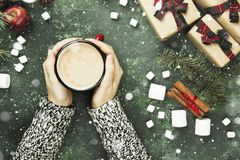 Female hands holding cup with hot chocolate and various attribut. Es of holiday on a green background. Top view Royalty Free Stock Image