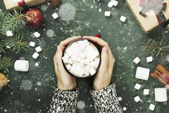 Female hands holding cup with hot chocolate and various attribut. Es of holiday on a green background. Top view Stock Images