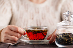 Female hands holding cup with hot herbal tea Stock Photos