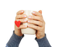 Female hands holding a cup with paper heart Stock Images