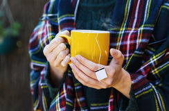 Female hands holding cup of tea Royalty Free Stock Photo