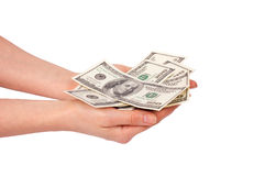 Female hands holding dollars Royalty Free Stock Image