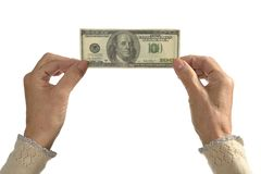 Female hands holding dollars Stock Photography
