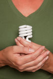 Female Hands Holding Energy Saving Light Bulb Stock Image