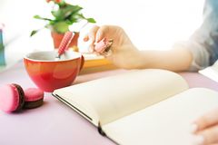 The female hands holding french macarons on trendy pink desk. Female hands holding french macarons on trendy color pink desk. Woman and stilish workplace. Cup Stock Photos