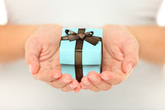 Female hands holding a gift Stock Photos