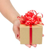 Female hands holding gift box Stock Photo