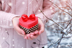 Female hands holding a gift box. Shaped of heart. The Valentines day and Christmas theme Stock Photography