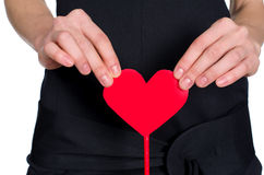 Female hands holding heart out of pape Stock Images