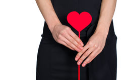 Female hands holding heart out of pape Royalty Free Stock Photography