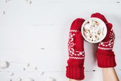 Female hands holding hot chocolate with marshmallow above white wooden table. Top view. And copy space royalty free stock photo