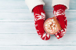 Female hands holding hot chocolate Royalty Free Stock Photos