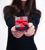 Female hands holding jewerly gift box Royalty Free Stock Photography