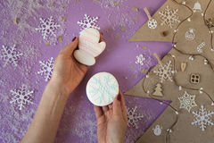 Female hands holding little christmas snowflake and mitten gingerbread Stock Photography