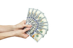 Female hands holding money. Isolated over white Stock Images