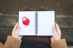 Female Hands holding notebook with closed red padlock in heart s Royalty Free Stock Photos