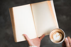 Female hands holding old opened book . Royalty Free Stock Photo