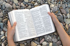 Female hands holding open Bible Royalty Free Stock Photo
