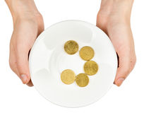 Female hands holding plate with coins Stock Photos