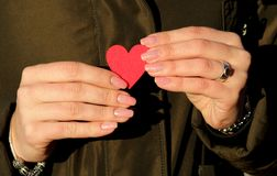 Female hands holding a red heart against the background of a dark jacket stock photo