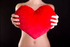 Female hands holding red heart Royalty Free Stock Photography