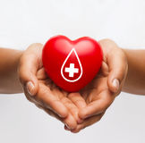 Female hands holding red heart with donor sign. Healthcare, medicine and blood donation concept - african american female hands holding red heart with donor sign royalty free stock images