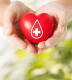 Female hands holding red heart with donor sign. Healthcare, medicine and blood donation concept - female hands holding red heart with donor sign over green stock photography