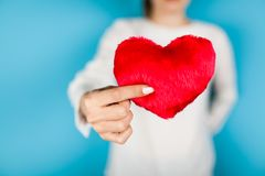 Female hands holding a red heart. On blue background royalty free stock image