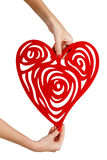 Female hands holding red heart Royalty Free Stock Photos