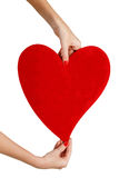 Female hands holding red heart Royalty Free Stock Photo