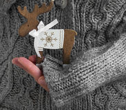 Female Hands Holding Reindeer Christmas Decoration Royalty Free Stock Photos