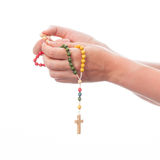 Female hands holding rosary Royalty Free Stock Photos