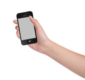 Female hands holding a smart phone Stock Photo