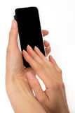 Female hands holding smart phone Stock Photo