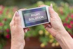 Right solution concept on a smartphone Royalty Free Stock Photo